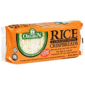 OrgraN Rice & Cracked Pepper Crispbreads, 7-Ounce Packages (Pack of 12)