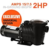 XeeStore Pool Pump 2HP in Ground Single Speed 110V 2 Horsepower Swimming Pool with Strainer High Power Flo Motor (2 HP)