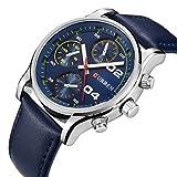 BINZI レザーバンド腕時計 選べる 4色 アナデジ表示 ファッション おしゃれ CU-8207(ブルー)メンズ