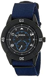 Geneva Mens 1672F-GEN Black-Tone Watch with Blue Nylon Band