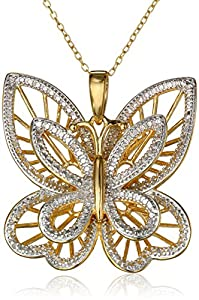 """Yellow Gold-Plated Sterling Silver Diamond-Accented Butterfly Pendant Necklace, 18"""""""