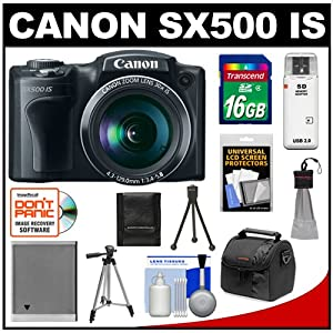 Canon PowerShot SX500 IS Digital Camera (Black) with 16GB Card + Battery + Case + Tripod + Accessory Kit