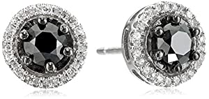 Sterling Silver Black and White Diamond Stud Earrings (1 cttw)