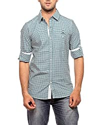 Groove Men Cotton Green Casual Shirt (Large)