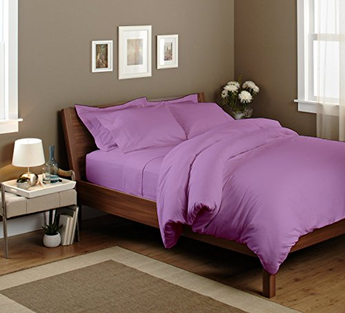 Egyptian Cotton Luxurious Waterbed Sheet Set 300 Tc Solid (Queen, Lilac) By Bedding Spa front-572186