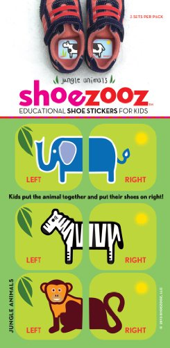 Shoezooz - Educational Shoe Stickers for Kids - Jungle Animals