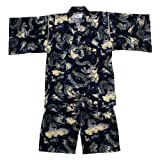 甚平 子供 ジュニア 男の子 龍柄 綿100% 日本製生地 和柄 甚平スーツ(じんべい) ネイビー 150