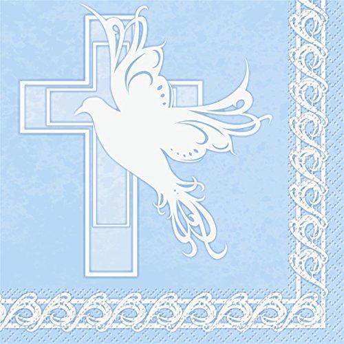 Baptism Napkin Dove Cross Blue Big