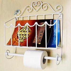 White Iron Wall Mounted Magazine Rack File Bathroom Organizer W Toilet Tissue Paper Holder