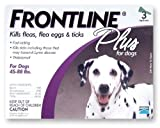 Merial Frontline Plus Flea and Tick Control for 45 to 88-Pound Dogs and Puppies, 3-Pack