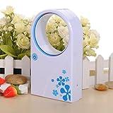 (Blue) Mini Bladeless Fan Refrigeration No Leaf Air Conditioner Usb Desktop With Flashlight And Usb Light