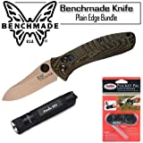 Benchmade 15030-1 Bone Collector Mini Axis Plain Edge Knife, With PP1 Pocket Pal Sharpener and Fenix E01 LED Flashlight Bundle