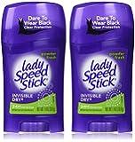Lady Speed Stick Invisible Dry, Powder Fresh Antiperspirant Deodorant, Net Wt. 1.4 Oz. (2 Pack Value Bundle)