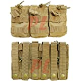 Triple Stacker Magazine Pouch (Hold 6 Mags) Color: Coyote Tan (Color: Tan)