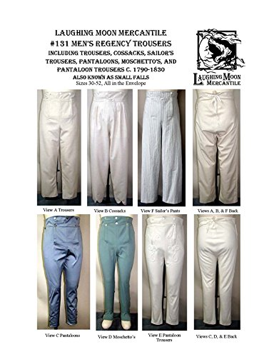 Men's Regency Trousers Pants 1790-1830 Laughing Moon Sewing Pattern 131 (Cossack Pants compare prices)