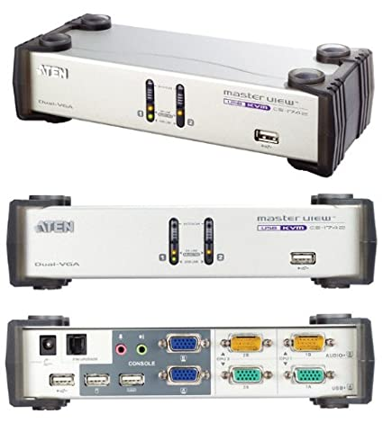 Aten CS1742 Commutateur KVM VGA Dual View USB à 2 ports avec audio + concentrateur USB 2.0 + câble KVM