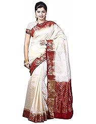Sneha Silk Kendra Women's Balaton Silk Saree (SSK110, Off-White, Free Size)