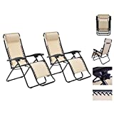 1 Pair Tan/Khaki Color Recliner Lounge Chair Fully Reclined-63 Inches Long