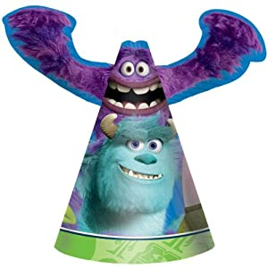 Monsters University Happy Birthday Party Cone Hats-8 count by Amscan