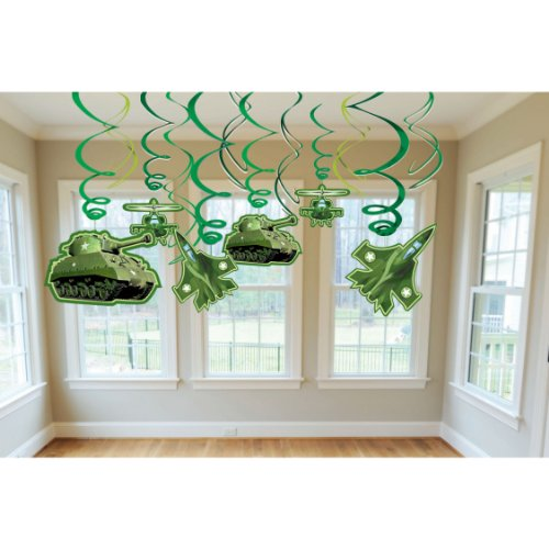 Military Camouflage Swirl Decorations (12pc)
