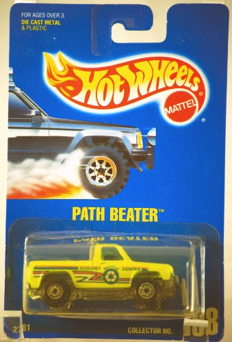 1991 - Mattel - Hot Wheels - Path Beater - Ecology Center Truck - Neon Yellow - 1:64 Scale Die Cast - Collector #198 - MOC - Out of Production - Limited Edition - Collectible