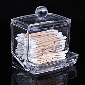 Cosmos ® Clear Acrylic Cotton Swabs Cotton Ball Cosmetics Holder Box Organizer