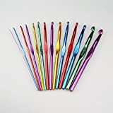 Hoter Pack Of 14 High Quality Aluminum Crochet Hooks 2mm-10mm, Free With A Velour Pouch, Gift Ideaby HOTER