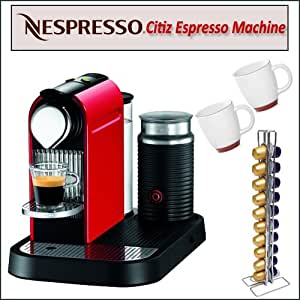 Nespresso C120 Citiz Fire Engine Red Espresso Machine & Milk Frother With Swissmar Capsules And Two Bistro Coffee Cups
