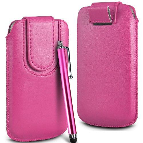 N4U Online Premium PU-Leder Flip Pull Tab Hülle Tasche mit Magnetbandverschluss & High Sensitive Stylus Pen für Nokia Lumia 610 - Rosa