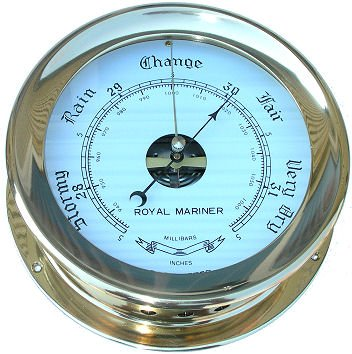 Captain's aneroid soild brass barometer by Royal Mariner by Moore Clocks