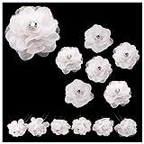 Soyokay - Lot De 6 Épingles Épingle Cheveux Pics Chignon - Coiffure Mariage Mariée Cérémonie danse - Fleur En Tissu blanc blanches...