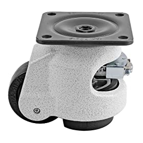 """FOOTMASTER GDR-80F Nylon Wheel and NBR Pad Ratcheting Leveling Caster, 1100 lbs, Top Plate 3 17/32"""" x 3 17/32"""", Ivory at Sears.com"""