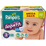 Pampers - 81373238 - Active Fit Couches - Taille 3+ Midi+ - 5-10 kg - Mégapack x 88 Couches