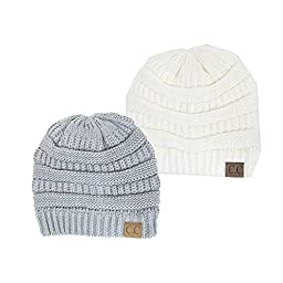 Thick Slouchy Knit Oversized Beanie Cap Hat, 2pack light grey Ivory