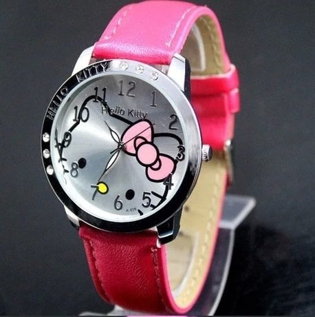 Kamay'S Leather Strap Children'S Watch With 6 Rhinestone (Red)