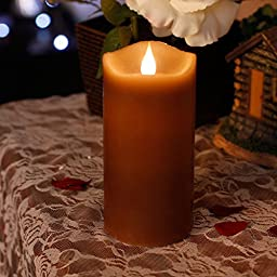 Led Candle Flameless Candle Moving Wick Free-Flowing 3D Fireless flame Real Wax LED Pillar Candle Light With Timer,Home Decorations,Battery-Operated,3x5 Inch,Brown