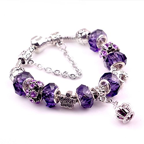 """Gorgeous Jewelry Crown Pendant Carving """"I Love You"""" Letter Purple Crystal Lover Bracelets"""
