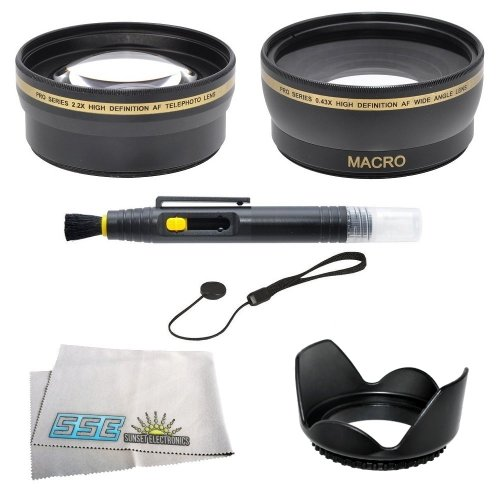 58Mm 2.2X Telephoto Hd Zoom Lens, 0.43X Wide Angle Lens, Lens Pen Kit, Lens Hood, More For Canon Eos Rebel Xt Xti Xsi T1I T2I T3I T3 20D 5D 300D 350D 450D 400D 10D T2 40D 50D 60D 1000D 550D That Use Canon Lenses (18-55Mm, 75-300Mm, 50Mm 1.4, 55-200Mm)