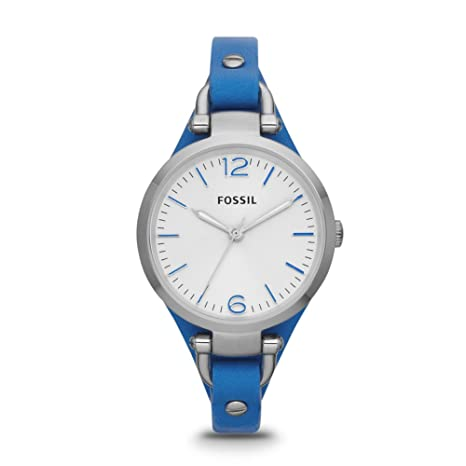 Fossil Georgia Three Hand Leather Watch - Blue Es3297