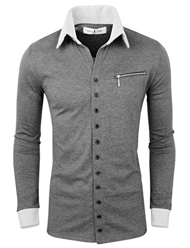 Tom'S Ware Mens Casual Fashion Collar Contrast Button Up Cardigan Twnss088G-Charcoal-Us M/L( Asian Xl)