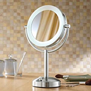 makeup mirror lighted dimmable 1x 10x magnification. Black Bedroom Furniture Sets. Home Design Ideas
