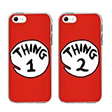 """BEST FRIENDS CASES, TTOTT 2 X Cute Red Thing 1 2 Design Lovers Couple Best Friends TPU Frame Hard Back Case Cover Skin For 4.7"""" iPhone 5 SE"""