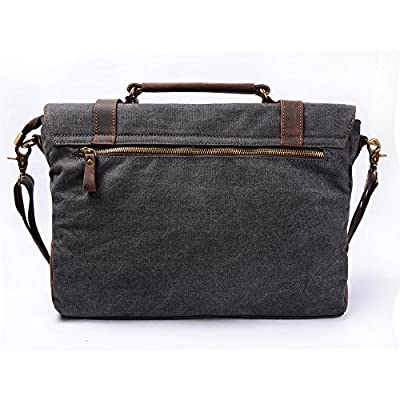 S-ZONE Mens Vintage Canvas Leather Messenger Traveling Briefcase Shoulder Laptop Bag Handbag