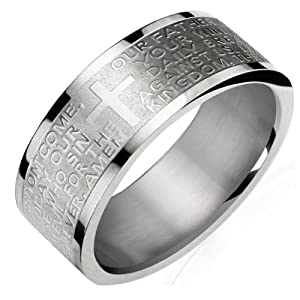 Stainless Steel English Lord's Prayer 8mm Band Ring - Men (Size 8)