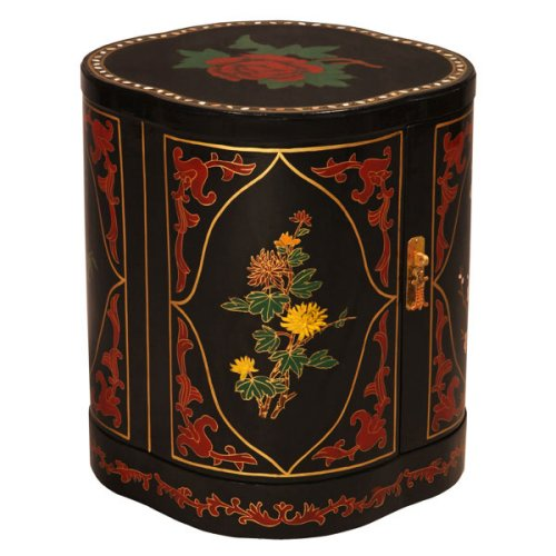Buy Low Price EXP Handmade Asian furniture-17″ Black Lacquer Accent / End Table With Mother of Pearl & Petal Shape (B001B14JIQ)