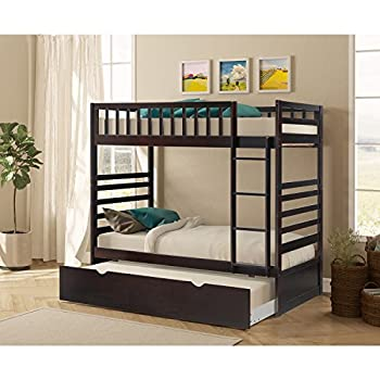 Merax Twin Over Twin Bunk Bed with Trundle in Espresso Finish