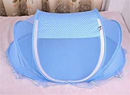 Portable Folding Cot Baby Crib Mosquito Net Landing Bug Netting Tent with Pillow (mosquito net+pillow) Baby Infant<br> Bed Canopy Mosquito Net (Blue)