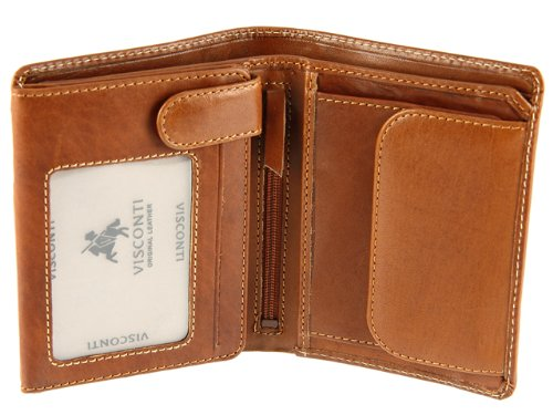 Visconti Gents Mens Vicenza Collection Italian Veg Tan Luxury Leather Wallet - VCN16