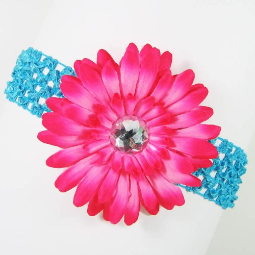 3-in-1 Gerber Daisy Flower Hair Clip Bow on Soft Stretch Crochet Child Headband fits Babies to Toddlers to Youth Girls - Hot Pink on Turquoise