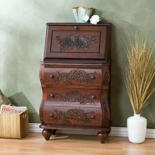 Southern Enterprises Walnut Carved Drop Front File Desk